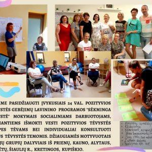 Pozityvios tėvystės gebėjimų lavinimo mokymai specialistams